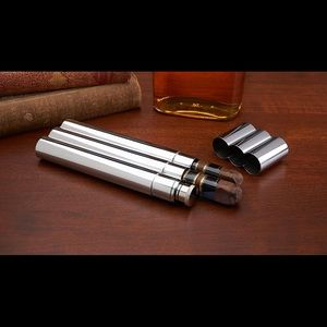 Maxam® 2oz Stainless Steel Flask with 2 Cigar Tube